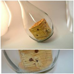 A tiny teddy bear and larger die, both made from Matchsticks, inside a round glass bottle Tiny Teddies, Dying Inside, Glass Bottles, Unique Gifts, My Etsy Shop, Check, House, Ideas, Haus