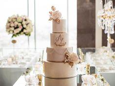 #Wedding #cake ideas: Couple engrave initials on multi-tiered wedding cake