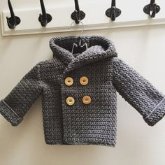 Steppin' Out: crochet baby pea coat, baby sweater, toddler pea coat, toddler sweater