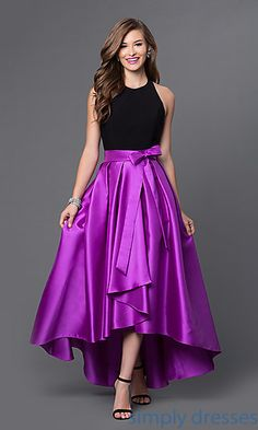 Shop high-low gowns with black halter tops at Simply Dresses. Fit-and-flare high-lo party dresses and backless evening gowns for formals.