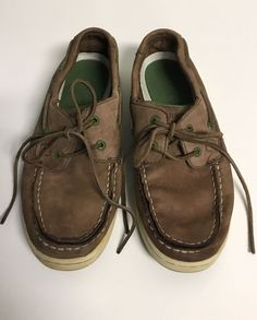 hot sale online 836ce 26850 Boys Sperry Top Sider Beige Brown Leather Loafers Boat Shoes - Youth Size 2   fashion