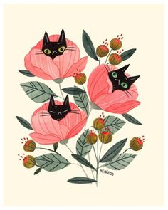 Art And Illustration, Cat Illustrations, Kunst Inspo, Art Inspo, Black Cat Art, Black Cat Drawing, Black Cats, Cat Flowers, Bubbline