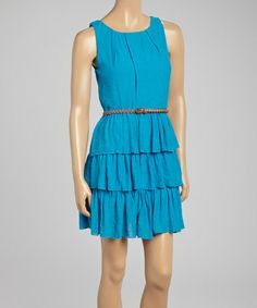 Loving this Turquoise Ruffle Tier Belted Scoop Neck Dress on #zulily! #zulilyfinds