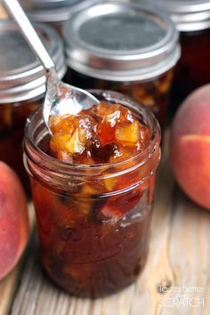 """Homemade Peach Chutney is like """"Fall"""" in a jar! It's very easy to make and preserve and tastes amazing over chicken, pork or fish. Jelly Recipes, Jam Recipes, Canning Recipes, Canning Tips, Curry Recipes, Home Canning, Chutneys, Peach Chutney, Dessert Aux Fruits"""