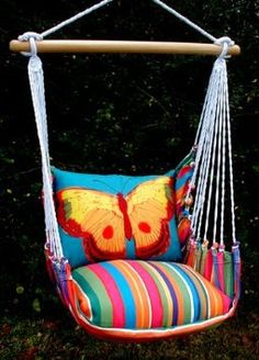 Le Jardin Blue Butterfly Hammock Chair Swing Set