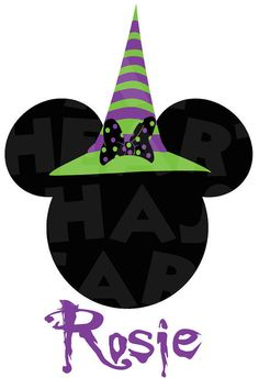 Printable DIY Minnie Mouse Witch Halloween PERSONALIZED Iron on transfer clip art
