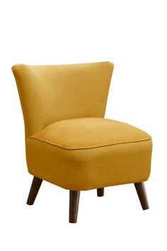 Slipper Chair With Coral Upholstery.Product: ChairConstruction Material:  Solid Pine, Polyurethane And Polyester Fill FoamColor: CoralFeatures: Adds  A ...