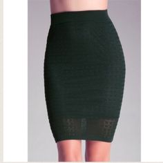 "bebe Pointelle Midi Skirt Size S Midi skirt with Pointelle stitch.  Stretch-rib waistband.  Fully lined.  Center back to hem 25.5"" bebe Skirts Midi"