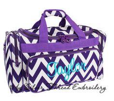 Personalized Duffle Bag Chevron Purple White Ballet by parsik93, $36.99