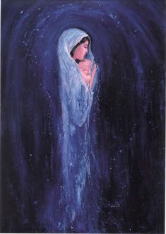 Ave Maria by Henryka Ternier – This image was created from the most basic human need to love and be loved. Visually, it expresses the love a mother has for her child , not just the love of the Blessed Virgin for her Son , but also the love for all. Blessed Mother Mary, Blessed Virgin Mary, Virgin Mary Art, Virgin Mary Painting, Jesus Mother, Divine Mother, Catholic Art, Religious Art, Religious Paintings