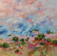Abstract Painting Original Landscape Impressionist Art, Acrylic on Canvas, West Wind by Linda Monfort