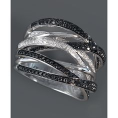 Caviar By Effy Collection 14k White Gold Ring, Black And White Diamond... ($1,952) ❤ liked on Polyvore