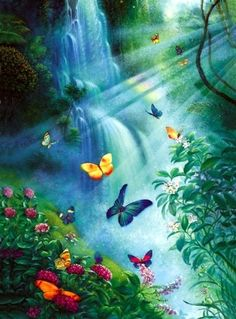Butterflies in the Mist - 3000 Pieces! Finished size: x Artist: Tom DuBoisSunsout puzzles are made in the USAEco-friendly soy-based inksRecycled boardsNot sold in mass-market storesBrowse more by Tom DuBois Waterfall Tattoo, Waterfall Photo, Butterfly Pictures, Butterfly Art, Butterfly Video, Beautiful Landscape Wallpaper, Beautiful Landscapes, Waterfall Paintings, Butterfly Wallpaper Iphone