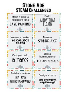 This engineering challenge is designed to introduce kids to Stone Age tools, animals, and people with free Stone Age STEAM challenge cards! Spring Activities, Craft Activities For Kids, Learning Activities, Childcare Activities, Stone Age Animals, Stone Age Tools, Infant Lesson Plans, Toddler Crafts, Kid Crafts