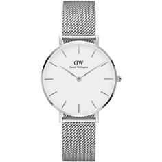 Daniel Wellington Women's Classic Petite Stainless Steel Sterling... ($179) ❤ liked on Polyvore featuring jewelry, watches, silver, stainless steel jewellery, stainless steel jewelry, quartz movement watches, white faced watches and stainless steel watches