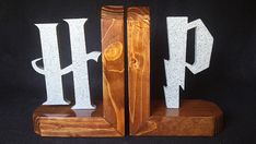"""Hand Made Harry Potter Wooden Bookends """"Gray Granite"""" #HarryPotter #Handmade #HandCrafted #Bookends #Hermione #Hogwarts #TheKrakenCollection"""