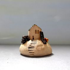 Little ceramic house for home decor , collectible miniature house , Christmas…