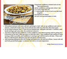 Lemon garlic cauliflower