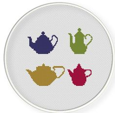 Buy 4 get 1 free ,Buy 6 get 2 free,Cross stitch pattern, PDF,vintage teapot collection,zxxc0238. $4.50, via Etsy.