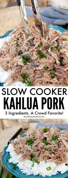 Kahlua Pork Recipe Slow Cooker Kahlua Pork Easy and delicious meal ideas momfindsout Crock Pot Slow Cooker, Slow Cooker Recipes, Crockpot Recipes, Cooking Recipes, Crockpot Dishes, Kahlua Pork Crock Pot, Barbecue Pork Ribs, Bbq, Pork