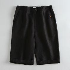 Men's Shorts Linen Luxury High Quality Casual - Black - Shorts