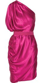LanvinAsymmetric draped silk-satin dress