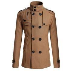 Mens Double Breasted Peacoat Coat Jacket