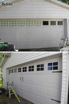 My favorites are the garage, the deck walkway and the outside light! Make your home beautiful on the inside and the outside. 20 Easy and Cheap DIY Ways to Enhance The Curb Appeal Home Projects, Remodel, Garage Decor, Garage Door Makeover, House Exterior, Garage Doors, Cheap Home Decor, Door Makeover, Curb Appeal