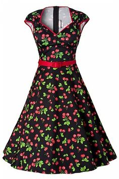 5cbf7cfc13870 PINUP COUTURE HEIDI dress black cherry cherries XS swing rockabilly PUG NWT  | eBay
