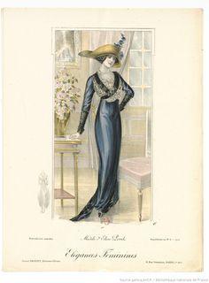 From Élégances féminines. Revue mensuelle de la grande couture parisienne 1912. Dress by Elise Poret