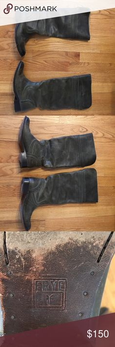 Frye Boots Tall green boots Frye Shoes Heeled Boots