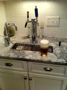 "Beer tap in the kitchen for the home brew--just for my hubby :) www.LiquorList.com ""The Marketplace for Adults with Taste"" @LiquorListcom #LiquorList"