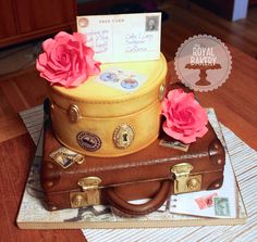 Luggage/suitcases cake for a retirement party.