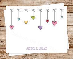hearts & bows note cards, notecards - set of 8 - folded personalized stationery, stationary - girls, feminine de CelebrateLilThings en Etsy https://www.etsy.com/es/listing/169232891/hearts-bows-note-cards-notecards-set-of