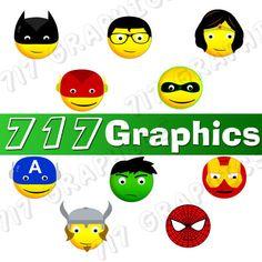 Superhero Smiley Face Clipart/Emoji