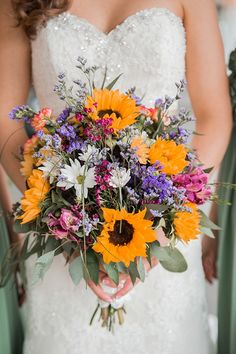 Beautiful wedding bouquet with sunflowers