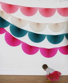 Paper bunting garland in. Honeycomb Decorations, Paper Decorations, Flower Decorations, Christmas Decorations, Paper Bunting, Bunting Garland, Diy Bunting, Bunting Ideas, Garland Ideas