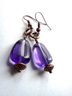 Red antique brass and purple Czech glass dangle by PinkCupcakeJC, $8.00