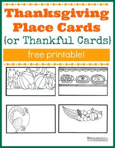 Kids can help out by making place cards for Thanksgiving dinner! Or use them to make thankful cards and spark conversation at meal time.
