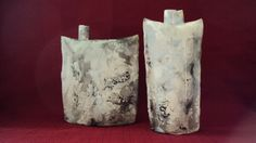 Primitive fired ceramic flasks from Cinder and Smoke Studio (www.facebook.com/cinderandsmokestudio).