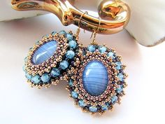 Bead Embroidered Blue Agate Earrings Embroidery by KristinesBeads