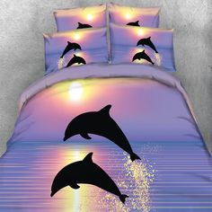 Free Shipping Stunning HD digital 3d print Dolphins in Golden Sunset duvet cover set 4pcs dino bed sheets