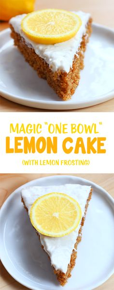 """A simple """"one bowl"""" lemon cake, with ultra light & creamy frosting. Recipe: chocolatecoveredk..."""