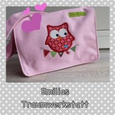 Eule auf Wimpelkette Kindergartentasche Blumen von Emilias-Traumwerkstatt auf DaWanda.com