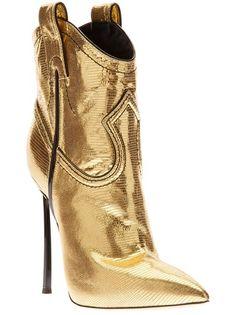 CASADEI Metallic Western-Style Stiletto Boot