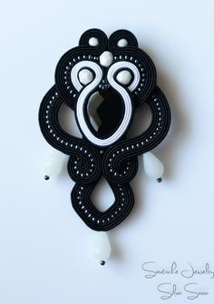 Black and White soutache brooch