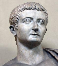 Emperor Tiberius as Jupiter - detail, (colossal) Roman statue (marble), 1st century AD, (Musei Vaticani, Vatican City).
