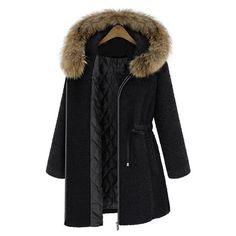 SheIn(sheinside) Black Fur Trim Hood Drawstring Waist Wool Coat (45.420 CLP) ❤ liked on Polyvore featuring outerwear, coats, jackets, coats & jackets, wool coats, collar coat, short sleeve coat, short wool coat and leather-sleeve coats