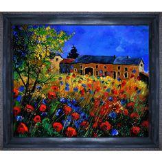 Pol Ledent ' poppies and cornflowers in Houroy ' Framed Fine Art Print