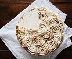 """This """"cake"""" was a fusion of two things I love. My original Rose Cake design and Pumpkin Pie. Let me be more specific... pumpkin pie smothered in whipped cream.  I have to tell you, the Buttercream Rosette Cakeis near and dear to my heart. Its by far the most popular cake I have ever"""